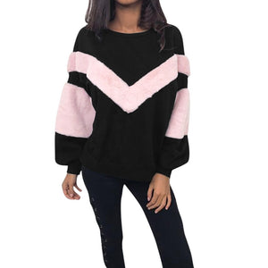 Women O Neck Sweatshirt Patchwork Cashmere Long Sleeve Pullovers Tops Blouse