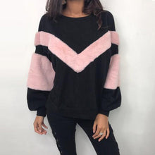 Load image into Gallery viewer, Women O Neck Sweatshirt Patchwork Cashmere Long Sleeve Pullovers Tops Blouse
