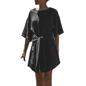 Women's Black Bandage Half Sleeve Dress Evening Party Mini Dress