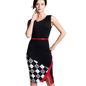Summer Women Formal Work Knee-Length Belted Black Grid Casual Office Business Bodycon Elegant Pencil Dresses B290