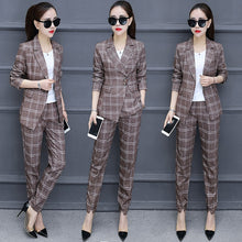 Load image into Gallery viewer, Spring and autumn new Korean fashion temperament Slim small suit plaid jacket women's nine pants suit