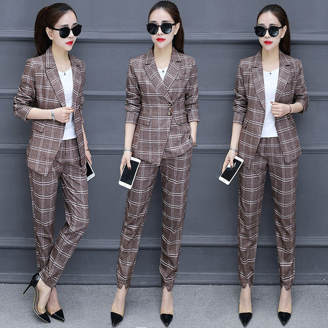 Spring and autumn new Korean fashion temperament Slim small suit plaid jacket women's nine pants suit