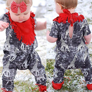 Newborn Toddler Baby Girls Boys Giraffe Print Romper Jumpsuit Casaul Clothes