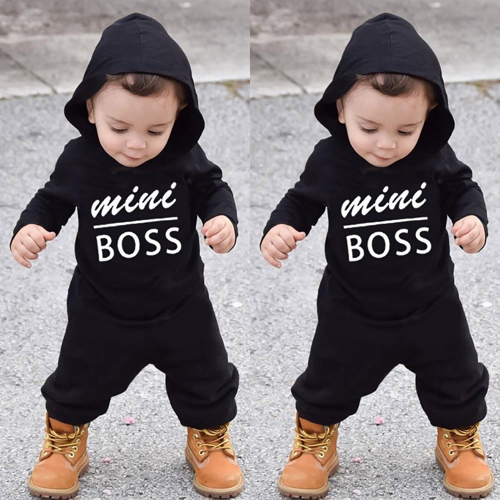 Toddler Kids Baby Letter Boys Girls Hoodie Outfits Clothes Romper Jumpsuit
