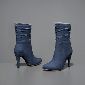 BLXQPYT Plus Big & Small Size 28-50 Denim  boot short Pointed Toe Women Autumn winter High Heels Wedding Shoes Woman Y72