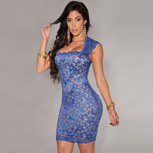 Load image into Gallery viewer, New Sexy Women Mini Dress Lace Nude Illusion Sleeveless Clubwear Bodycon Dress Black/Blue/Red/Purple