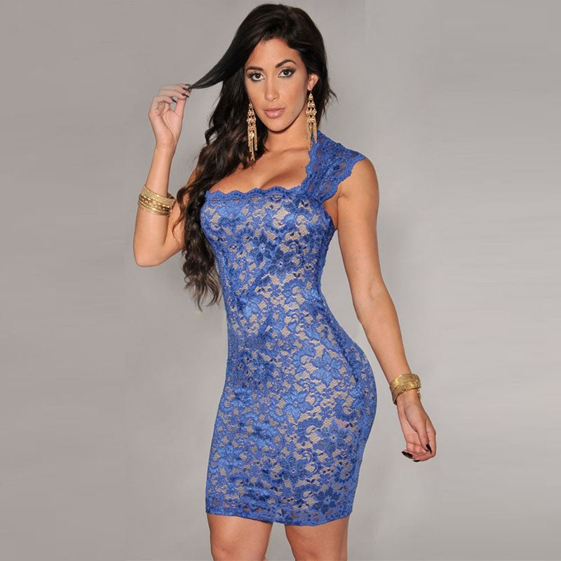New Sexy Women Mini Dress Lace Nude Illusion Sleeveless Clubwear Bodycon Dress Black/Blue/Red/Purple