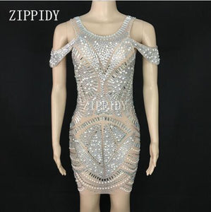 Silver Rhinestones Sexy Mesh Dress
