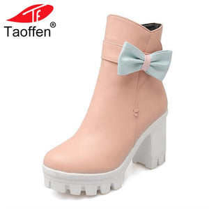 TAOFFEN Sexy Women High Heels Boots Bowknot Platform Warm Shoes Women Winter Fur Ankle Boots Thick Heel Shoes Size 31-43
