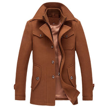 Load image into Gallery viewer, Men's Casual Wool Trench Coat Fashion Business Long Thicken Slim Overcoat Jacket