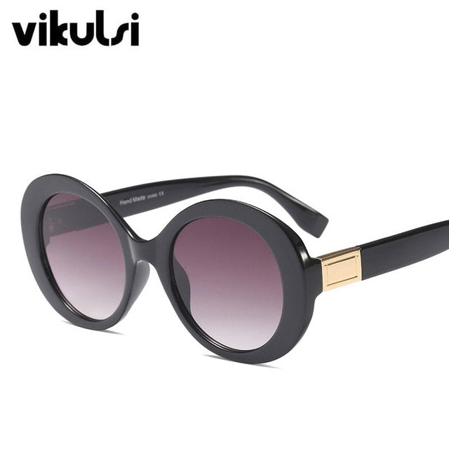 New 2018 High Quality Luxury Brand Sunglasses Women Round Frame Sun Glasses Vintage Fashion Pink Glasses Oval Sun Glasses UV400