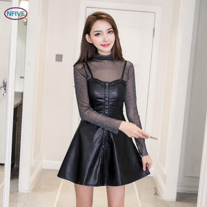 NFIVE Brand 2018 Woman Black Slim Two Piece Sets New Fashion Europe Perspective Sexy A Word Hollow Out Leather Dress Casual Set