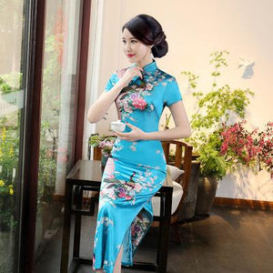 Purple Chinese Female Long Dress Sexy Elegant Qipao Cheongsam Vintage Mandarin Collar Flower Peacock Dress S M L XL XXL 3XL 0157