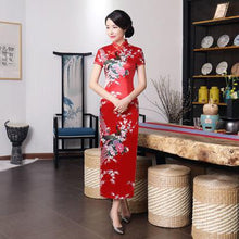 Load image into Gallery viewer, Purple Chinese Female Long Dress Sexy Elegant Qipao Cheongsam Vintage Mandarin Collar Flower Peacock Dress S M L XL XXL 3XL 0157