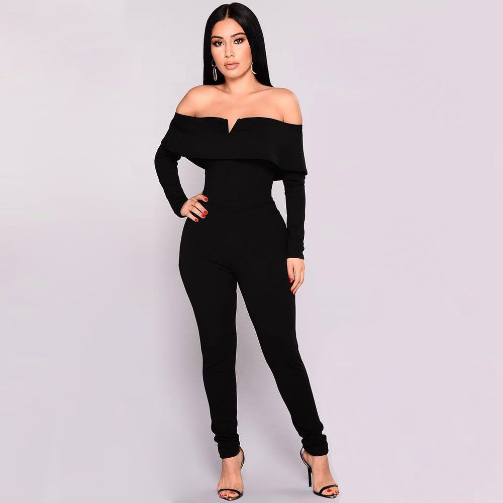 Sexy Women Off the Shoulder Jumpsuit Ruffle Long Sleeves Zip Slim Romper Body Suits Black