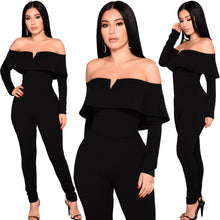 Load image into Gallery viewer, Sexy Women Off the Shoulder Jumpsuit Ruffle Long Sleeves Zip Slim Romper Body Suits Black