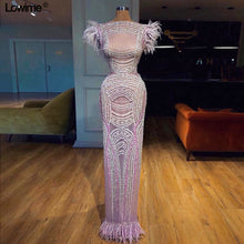 Load image into Gallery viewer, Bling Bling Sexy Mermaid Celebrity Red Carpet Dresses With Feathers Cap Sleeve Floor Length Prom Dresses vestido de festa