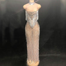 Load image into Gallery viewer, Sparkly Rhinestones Tassel Stretch Sexy Long Dress Nightclub Female Singer Show Clothes Womens Birthday Celebrate Outfit Dresses