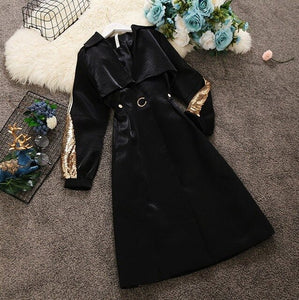 2018 Autumn Winter Fashion Korean Style V-neck Gold and Silver Sequined Sleeve Medium Long Wind Coat Women Shiny Trench