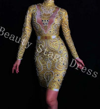 Load image into Gallery viewer, Sparkly Gold Rhinestones Pearls Long Sleeves Dress Bar Party Dance Dress Women Singer Clothes Birthday Celebrate Outfit Dress