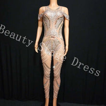 Load image into Gallery viewer, Sparkly Silver Rhinestones Mesh Jumpsuit See Through Birthday Celebrate Outfit Nightclub Party Dance Female Singer Show Clothes
