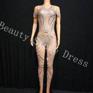 Sparkly Silver Rhinestones Mesh Jumpsuit See Through Birthday Celebrate Outfit Nightclub Party Dance Female Singer Show Clothes