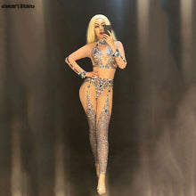 Load image into Gallery viewer, Rhinestones Mesh Nude Jumpsuit Sparkly Multicolor Female singer See Through Bodysuit Women Birthday Celebrate Nightclub Clothes
