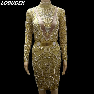 Sparkly Gold Glass Stones Dress Lady Nightclub Clothes Pearl Rhinestones Skinny Dress Birthday Celebration Outfit Singer Costume