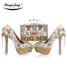 Load image into Gallery viewer, Luxury cyrstal wedding shoes with matching bags woman fashion High heels Women party dress shoes round toe Platform shoes