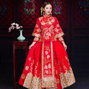 Chinese Overseas Wedding Dress Traditional Women Embroidery Phoenix&Floral Qipao Long Slim Cheongsam Stage Performance Clothes