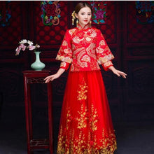 Load image into Gallery viewer, Chinese Overseas Wedding Dress Traditional Women Embroidery Phoenix&Floral Qipao Long Slim Cheongsam Stage Performance Clothes
