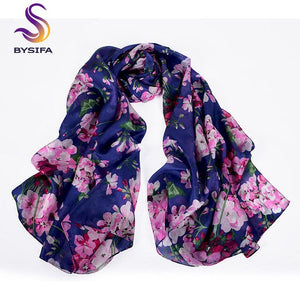 Women Blue Leopard Pattern Silk Scarf Extended Shawl Printed 2014 Fashion Apparel Accessories Brand Long Mulberry Silk Scarf
