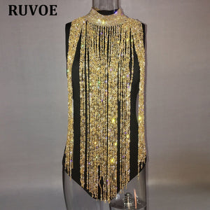 Gold Sliver Sparkle Tassel Crystal Diamonds Outfits Sexy Hollow Out Turtleneck Sequins Party Dresses Clubwear Birthday Outfits