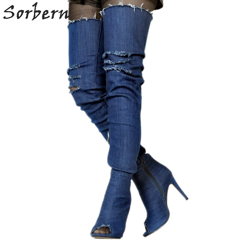 Sorbern Blue Jeans Peep Toe Over The Knee Boots For Women Platform Shoes Fetish High Heels Booties Prova Perfetto Cn Size 34-47