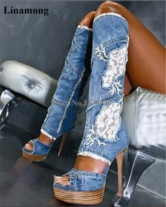 Women Sexy New Fashion Peep Toe Blue Denim Knee High Thin Heel Gladiator Boots Lace Mesh Platform Long High Heel Jean Boots