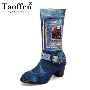 TAOFFEN Plus Size 34-48 New Fashion Woman Boots Square High Heels Winter Shoes Women Denim Mid Calf Boots Woman Party Shoes