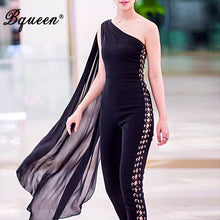 Load image into Gallery viewer, Bqueen Women Runway Jumpsuits One Shoulder Hollow Out Black Batwing Sleeve Romper Sexy Bodycon Jumpsuits Celebrity 2019 Summer