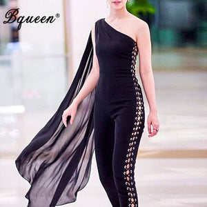 Bqueen Women Runway Jumpsuits One Shoulder Hollow Out Black Batwing Sleeve Romper Sexy Bodycon Jumpsuits Celebrity 2019 Summer