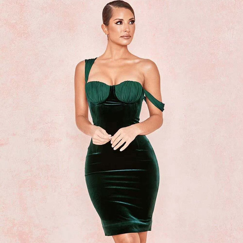 2019 New Fashion Royal Green Strap Spaghetti Women Celebrity Party Vestido Dresses Ladies Short Elegant Velvet Dress Wholesale