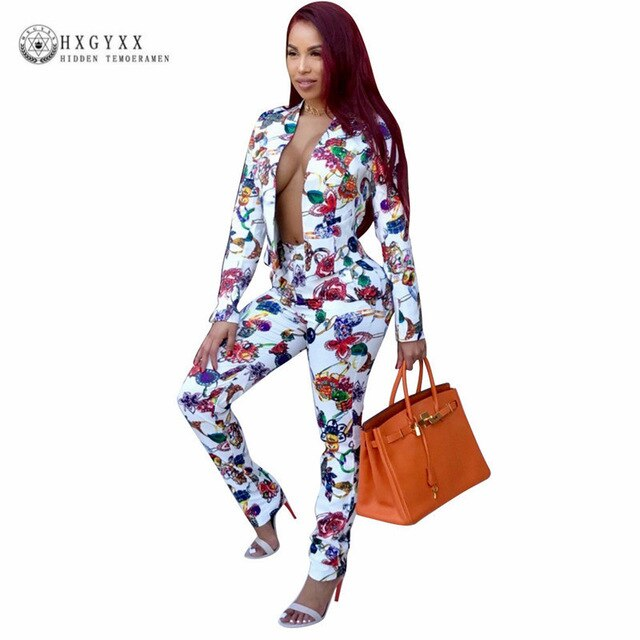 Flower Printed  Formal Pants Suit