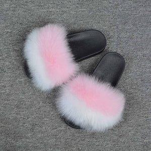 2019 New Real Fox Fur Slides Mix Colors Furry Sliders Women Ladies Fur Slippers Top Quality Retail/Wholesale S6021