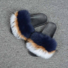 Load image into Gallery viewer, 2019 New Real Fox Fur Slides Mix Colors Furry Sliders Women Ladies Fur Slippers Top Quality Retail/Wholesale S6021