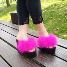 Load image into Gallery viewer, slippers platform wedge slippers fur sliders furry slides womens slides shoes slip on sandals black shoes for women light loafer