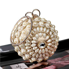 Load image into Gallery viewer, Luxury Designer Round Ball Evening Clutch Bag Pearl Purse Handbag Women Wedding Bridal Golden Silver Crystal Diamond Chain Bag