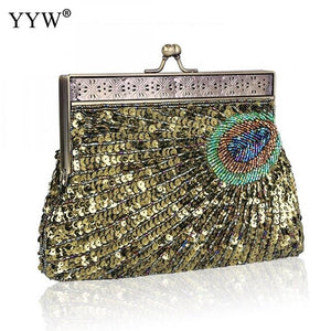 2019 High Quality Evening Clutch And Purse Tiny Glass Beads Vintage Clutch Bag Women Fashion Sequin Party Wedding Bag Handbag