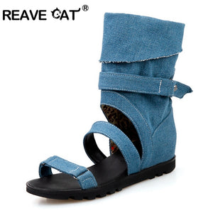 REAVE CAT Denim Ankle Boots For Women 2019 women Summer Boots Heels Boots Shoes Woman Peep Toe Botas Feminino Botas Mujer A942