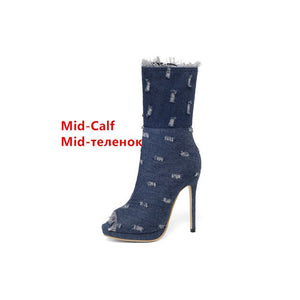 Fashion jeans high boots women shoes high heel over the knee stretch women boots open toe Booties Shoes denim thigh shoes woman