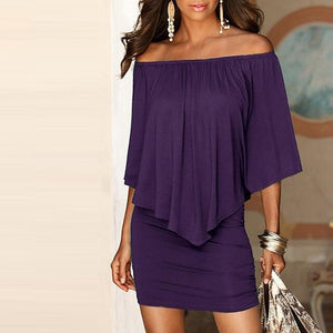 Women sexy off shoulder slash neck ruffle cape bodycon mini dress Purple red black summer dress Ladies night club party dresses