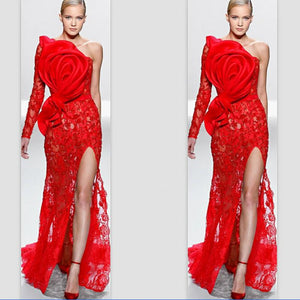 Red 2019 Formal Celebrity Dresses Mermaid One-shoulder Long Sleeve Lace Slit Sexy Long Evening Dresses Famous Red Carpet Dresses