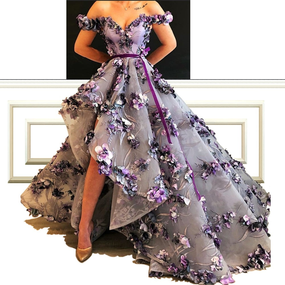 New Arrival Elegant A-Line Celebrity Dresses With Flowers And Sash Off-Shoulder Luxury Red Carpet Reception Runaway Dresses
